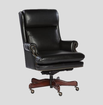 Hekman Black Leather Executive-Straight Bottom